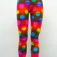 Rainbow Tie Dye Polkadot Leggings by Blim on Etsy