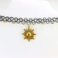 Tribal Sun Tattoo Choker - Gold - Beaded Tattoo Choker - Charm Choker - Cute Choker - Tumblr Choker - 90s Choker - Black Tattoo Choker