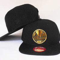 Golden State Warriors The City Gold Logo Black Snake Skin New Era Snap Back Hat