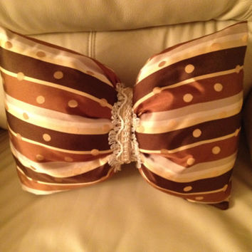 Silk Striped Bow Decorative Pillow by SewForYouByMS on Etsy