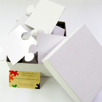White Puzzle Pieces For Wedding Guest Book Puzzle with 30 XL Pieces.  Large Puzzle Pieces FB