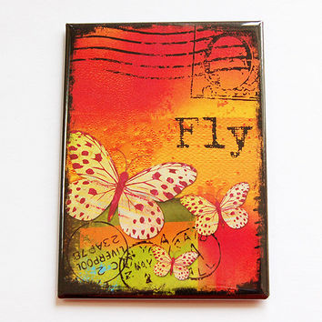 Large Magnet, Fridge magnet, Kitchen magnet, ACEO, Magnet, stocking stuffer, fly, butterfly, orange, red, bright colors (4440)