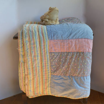 Antique Hand Stitched Quilt, Handmade Quilt, Vintage Pastel Cotton Blanket, Shabby Chic Bed Cover