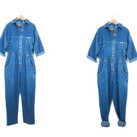 vintage 80s denim jumpsuit mechanic work work jean overalls one piece jumper mechanic suit 1980s snap up romper jumpsuit Medium