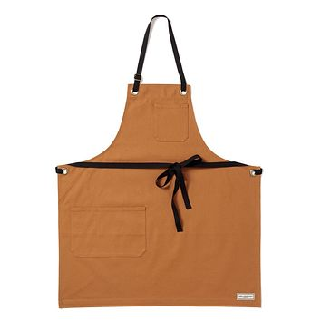 REGGIE BIB APRON, TAN DUCK CANVAS