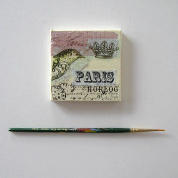 Paris Fridge Magnet, Miniature Mixed Media Painting, Mini Canvas, Original painting, Home Decor, Nature art