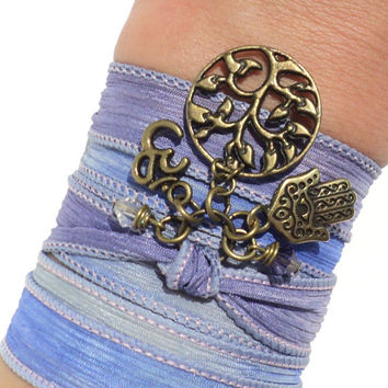Hamsa Om Tree of Life Silk Wrap Bracelet Yoga Jewelry Good Luck Protection Evil Eye Anklet Necklace Earthy Unique Gift Under 50 Item V27