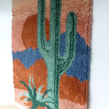 Vintage Latch Hook Wall Hanging 1950s Desert Sunset with Succulents and Sand Dunes Southwestern Decor Santa Fe Style Fabric Art
