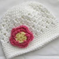 White Shell Cloche Hat with Pink Flower, pick your size
