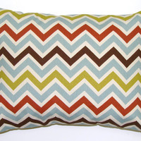 Blue,Rust, Brown,Chartruese Chevron.12x16 or 12x18 inch Decorator Lumbar Pillow Cover.Printed Fabric Front and Back