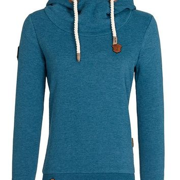 Naketano Women's Hoody Schmierlappen IV, Deep Blue Green Melange, Medium