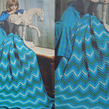Blue Blanket pattern PDF Instant Download Afghan knitted ZIG ZAG blanket knitting supplies epsteam knitting pattern upload knitting decor