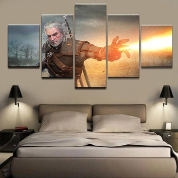 5 Pieces Canvas Print Geralt of Rivia The Witcher 3 Wild Hunt Game Poster Wall Art Modular Pictures Home Decorative Living Room