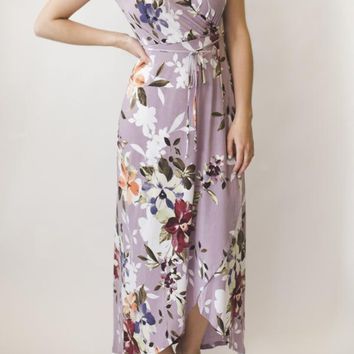 Cross Over Floral Dress - Lavendar