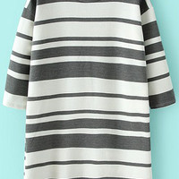 Dark Grey and White Striped Half Sleeve Shirt Dress