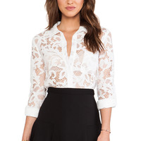 Diane von Furstenberg Lorelei Two Bloom Lace Top in White