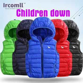 2018 Newest Children Down Jacket  Light And Thin  Hooded Kids Boys Vest and Waistcoats Sports Casual Clothes