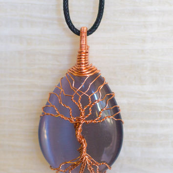 Wire Wrap Tree of Life pendant Silver Cats Eye Glass Pendant Wire Wrapped with Copper