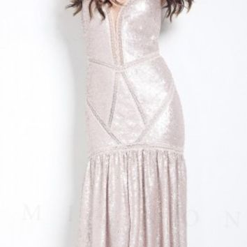 Sequined drop waist prom dresses by Mignon