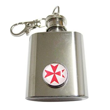 Red Maltese Cross 1 Oz. Stainless Steel Key Chain Flask