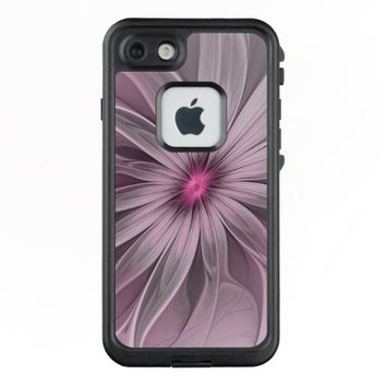 Pink Flower Waiting For A Bee Abstract Fractal Art LifeProof® FRĒ® iPhone 7 Case