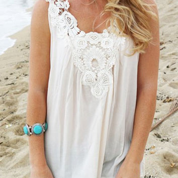 White Cut-Out Lace Tank Top