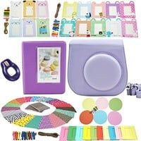 Fujifilm Instax Mini 8 Instant Camera Accessory Bundles Set (Fujifilm instax mini 8 case bag/ Instax Mini Book Album/ Mini 8 close-up lens(self-portrait mirror)/ colorful decor sticker borders/ colorful wall decor hanging frame) (Purple)