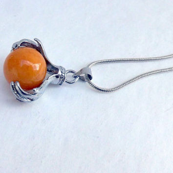 Honey Agate Crystal Ball in Hands Gypsy Fortune teller Amulet Healing Zen Jewelry