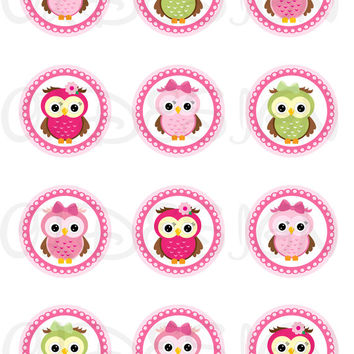 Owls. 2 Inch Circles. Stickers, Cupcake Topper, Tags, great for birthday partys. Digital file