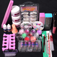 D6li 2016 Makeup Kits Gift Set Pro 24 in 1 Acrylic Nail Art Tips Liquid Buffer Glitter Deco Tools Full Kit Set for Women A12
