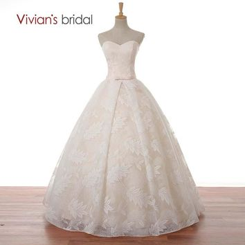 Bridal Floor Length Lace Sweetheart Wedding Dress Ball Gown Off Shoulder Simple Wedding Gown