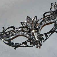 Laser Cut Metal Mask with Rhinestones