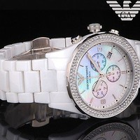 BRAND NEW Emporio Armani Crystal Ceramica Women's Watch AR1456