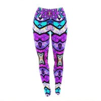 "Art Love Passion ""Kaleidoscope Dream"" Pink Purple Yoga Leggings"