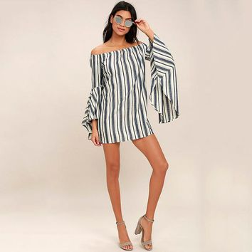 Striped Wide Sleeve Shift Dress