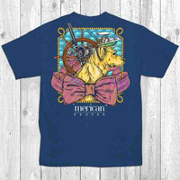 Merican Proper Dog Harbor Bow Boat Turtle Preppy Southern Bright T-Shirt