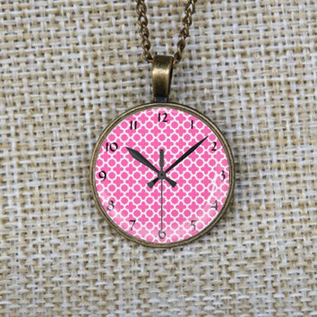 Graduation gifts-Pink clock necklace, pendant made of glass, Vintage bronze necklace, Glass picture pendant, Cute Children necklace-140