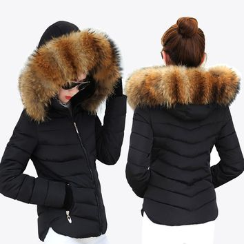 Fur collar Cotton Solid color Slim Coat
