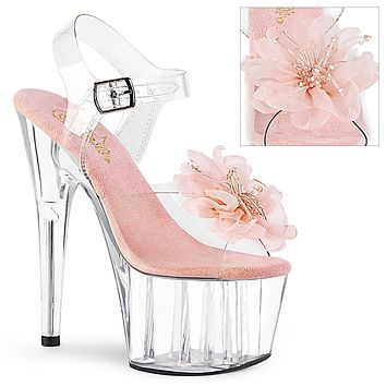 """Adore 708BFL Clear Ankle Strap Sandals Beaded Flower Design 7"""" High Heels - Pink"""