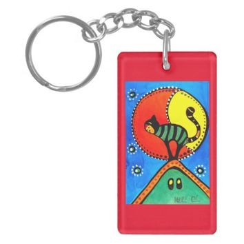 The Cat and The Moon Colorful Cat Design Keychain