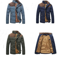 Trendy Men's Colorant Match Brief Thermal Wadded Jacket Thickening Cotton-padded Jacket Winter Slim Jacket = 1695575108