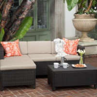 5-piece Wicker L-shaped Sectional Patio Sofa Set with Cushions