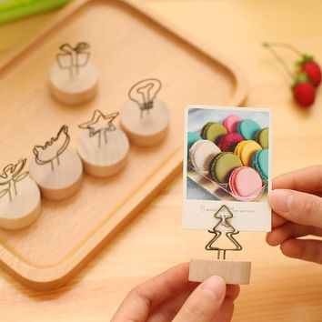 diy Round Wood Iron Pastoral Style Notes Clip Creative Message Photo Clip Stand Memo Clip Note paper Card Holder office supplies