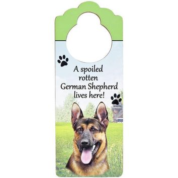 PEAPGQ9 A Spoiled German Shepherd Lives Here Hanging Doorknob Sign