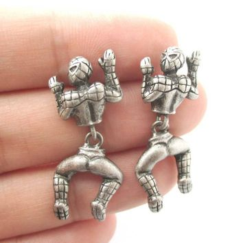 Quirky Spiderman Shaped Dangle Stud Earrings in Silver   Marvel Super Heroes