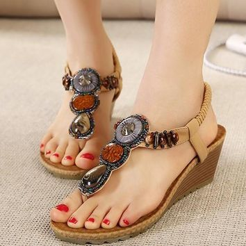 Vintage Rhinestone Flip Flops Beach Women Shoes
