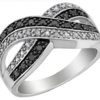 White and Black Diamond Infinity Ring 1/4 Carat (ctw) in Sterling Silver, Size 8