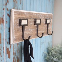 Rustic Wood Coat Rack with Three Iron Hooks