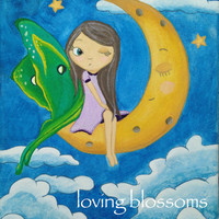 Luna Moth Fairy Winking the Moon: Original Painting, Girl in the Moon, Whimsical Wall Art, Children's Room Painting