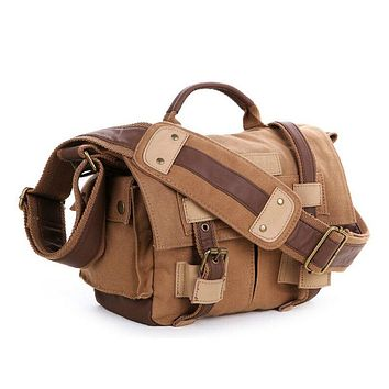 BLUESEBE UNISEX WAXED CANVAS MESSENGER DSLR CAMERA BAG BBK-2K